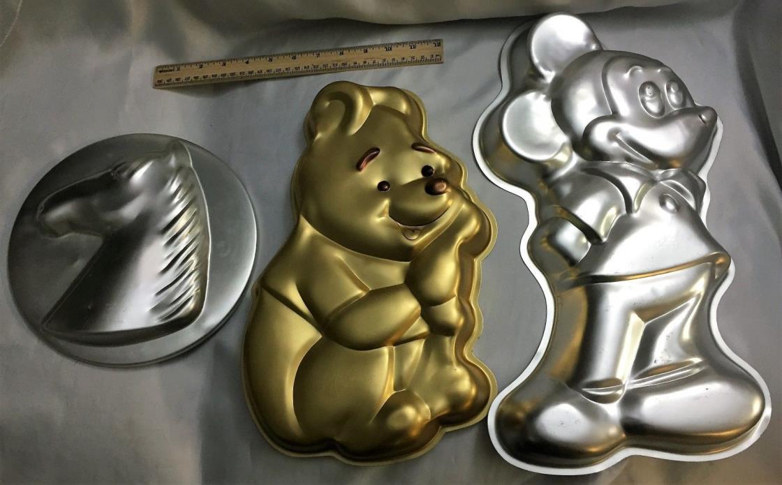Vintage Lot 3 Wilton Disney Large Mickey Mouse Winnie Pooh Horse Cake Pans Molds