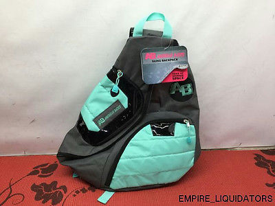 American Basics Sling Backpack in Gray & Teal w/ Tags Attached