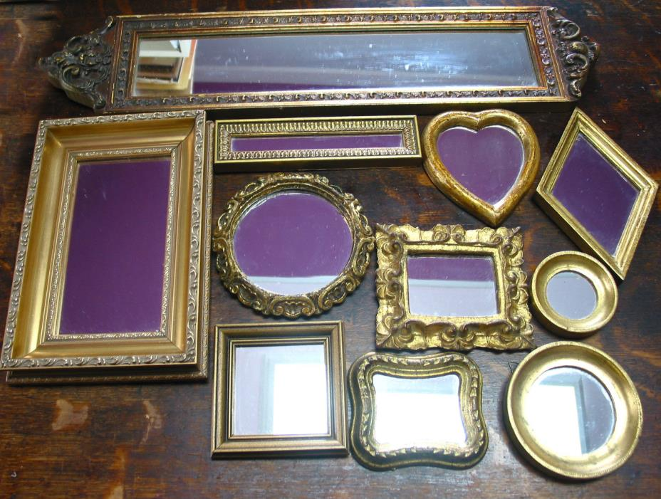 mixed lot of 11  Vintage  Wall Mirrors sizes 3.25
