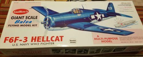 NIB GUILLOWS Grumman F6F-3 Hellcat Giant Scale RC CL WWII Balsa Airplane 1005