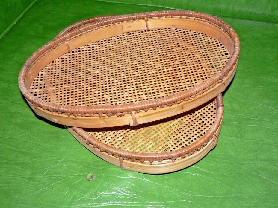 vintage woven bread basket  set
