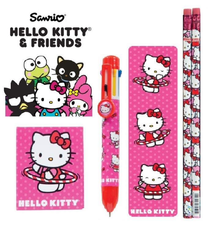 ~ NEW ~ 5pc Sanrio Hello Kitty Pink 8-Color Pen Pencils Bookmark Little Notebook