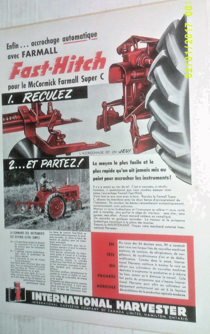 1953 McCORMICK FARMALL SUPER C FAST-HITCH TRACTOR ORIGINAL AD IN FRENCH