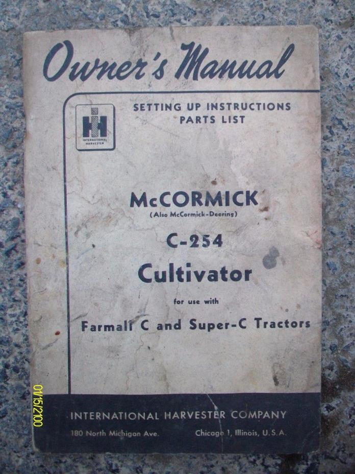 Vintage International Harvester C-254 Cultivator Farmall Super C Tractor Manual