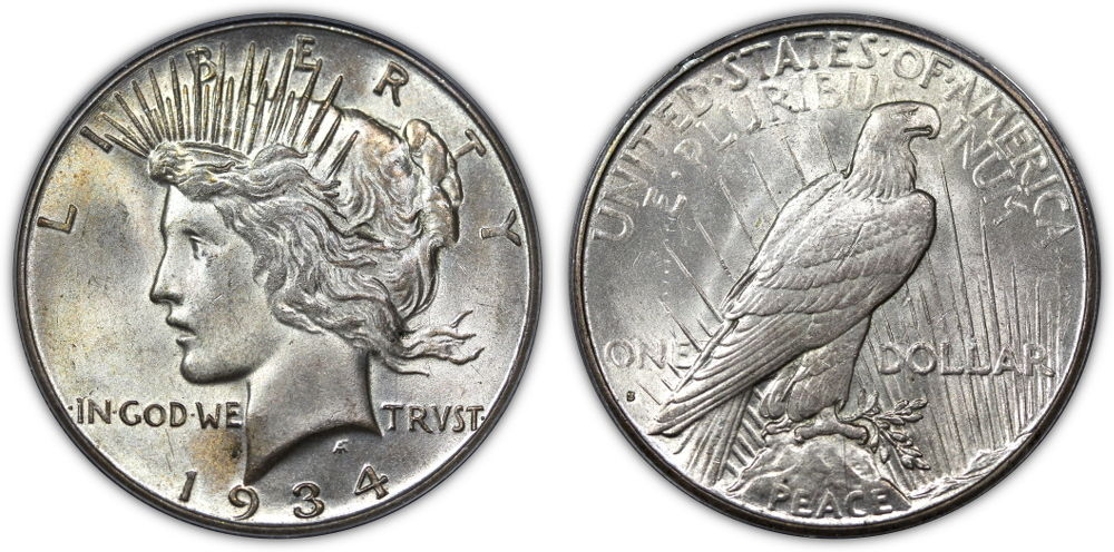 1934-S Peace Dollar. PCGS graded MS64.