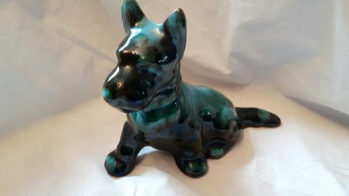 Blue Mountain Pottery Scotty Dog figurine Green blue Drip