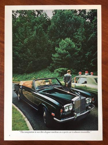 Vintage 1972 Original Print Ad ROLLS ROYCE CORNICHE CONVERTIBLE ~Temptation~
