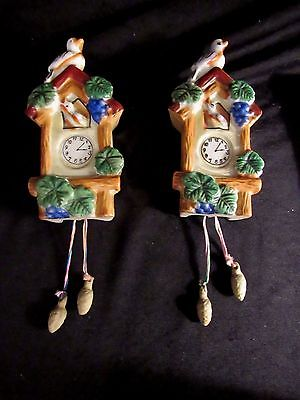 Vintage PAIR CUCKOO CLOCK Blue Bird WALL POCKETS Planter Luster Ware Japan 4/37