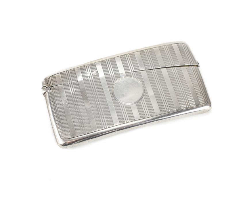 W. Neal & Son Ltd Sterling Silver Card Case, Birmingham 1913. Machined stripes