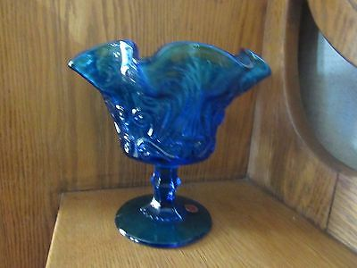 Vintage Blue GLASS PEDESTAL ITALY GLASSWARE RUFFLED EDGE CANDY DISH