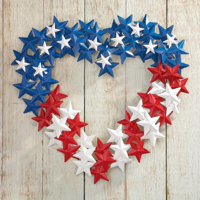 Patriotic American Flag Stars Heart Wreath Metal Wall Hanging 4th of July Decor