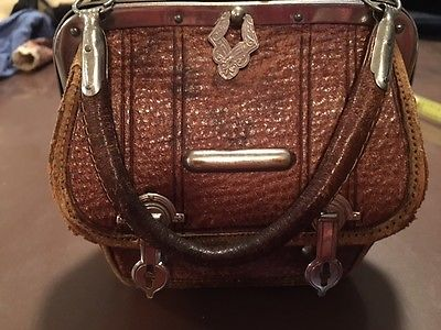 leather VALISE SACHEL bag purse FOR ANY antique doll french german fashion bebe