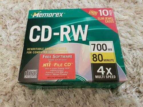 MEMOREX  CD-RW CD RW media 4x 700mb 80min. 9 CDS in opened 10pack box