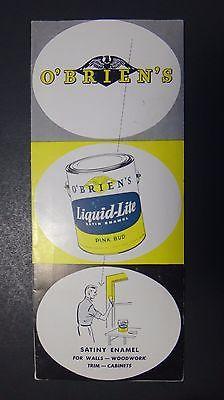 Vintage 1950's O'Brien's Liquid Lite Satin Enamel Paint Mid Century Brochure