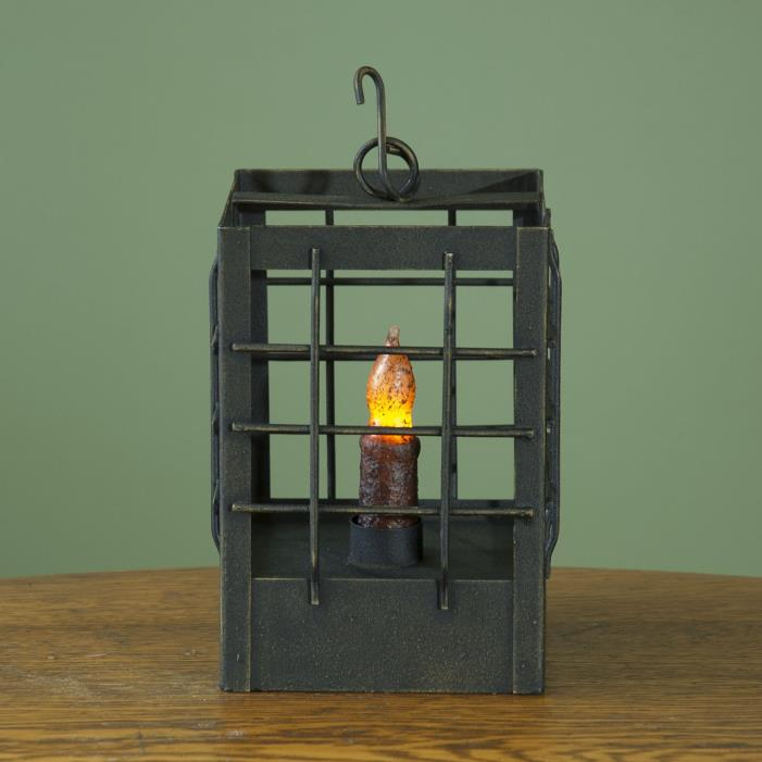 Black Distressed  Metal Post Candle Lantern - Primitive Country Lighting