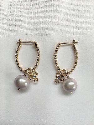 Pandora Trinity 14K YG hoop earring, lavender pearl + tanzanite (250299TZ). New.