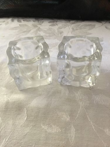set of 2 Party Lite heavy glass ice cube glacier votive candle holders