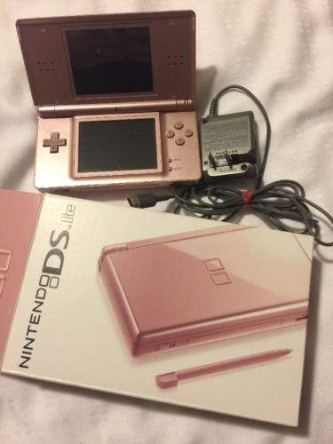 Nintendo DS Lite Handheld System Coral Pink Used  With 5 Games