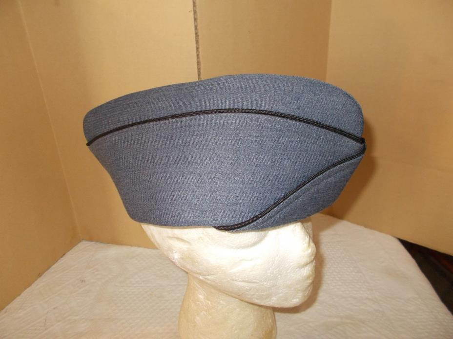 Military Academy Hat Cap Envelope Blue/Gray with Black Piping  Size 7 3/8  NEW