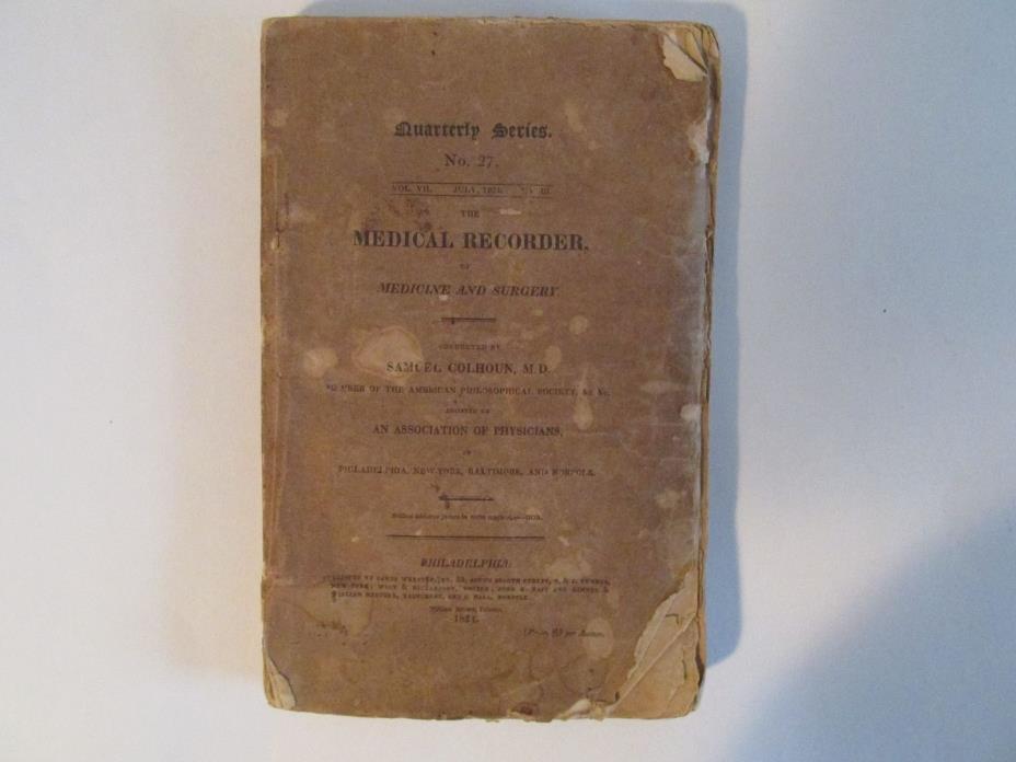 The Medical Recorder, 1824, Opium, Drugs, Narcotics, Original, Surgery, Medicine