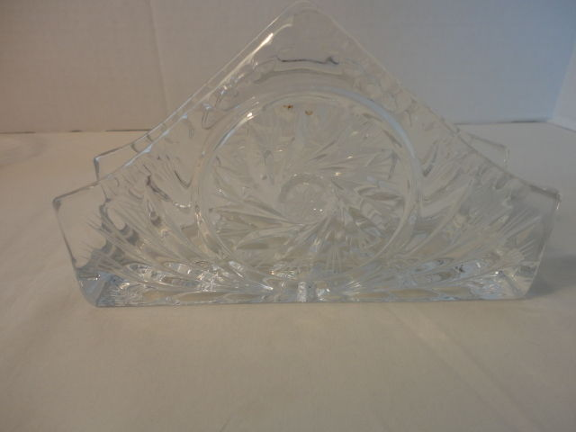 Vintage CRYSTAL CUT GLASS NAPKIN HOLDER Clear Glass