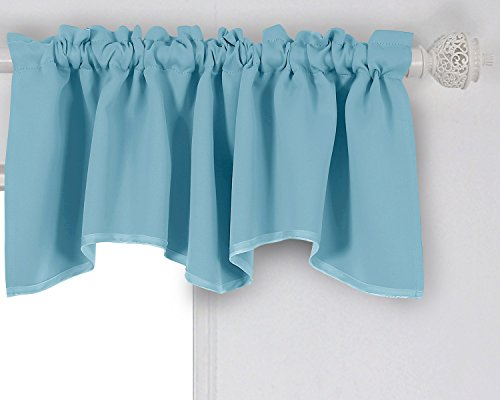 Deconovo Decorative Blackout Drapes Rod Pocket Curtains Scalloped Valances Room