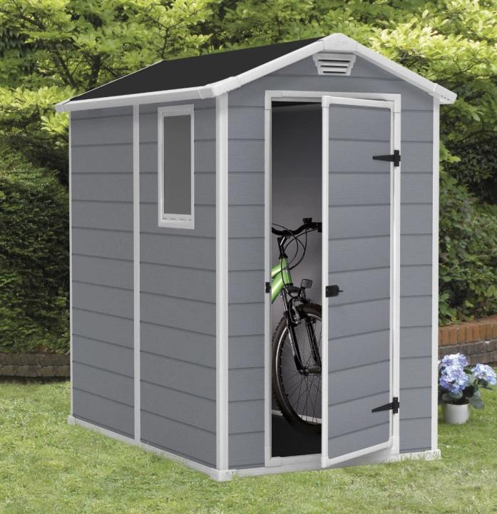 Bicycle Storage Shed Bike Kit Gable Small Garden Outdoor Cabinet Resin 4x6 ft