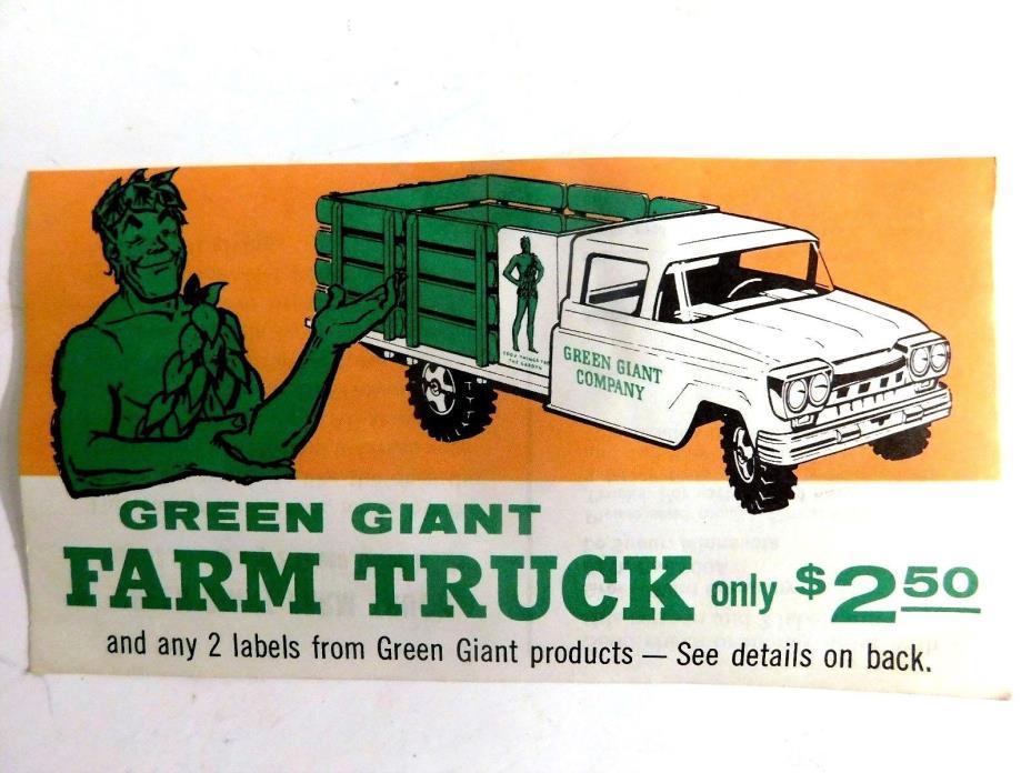 VINTAGE FLYER OFFER FOR THE 1961 TONKA GREEN GIANT FARM TRUCK~EXPIRED JAN.1962