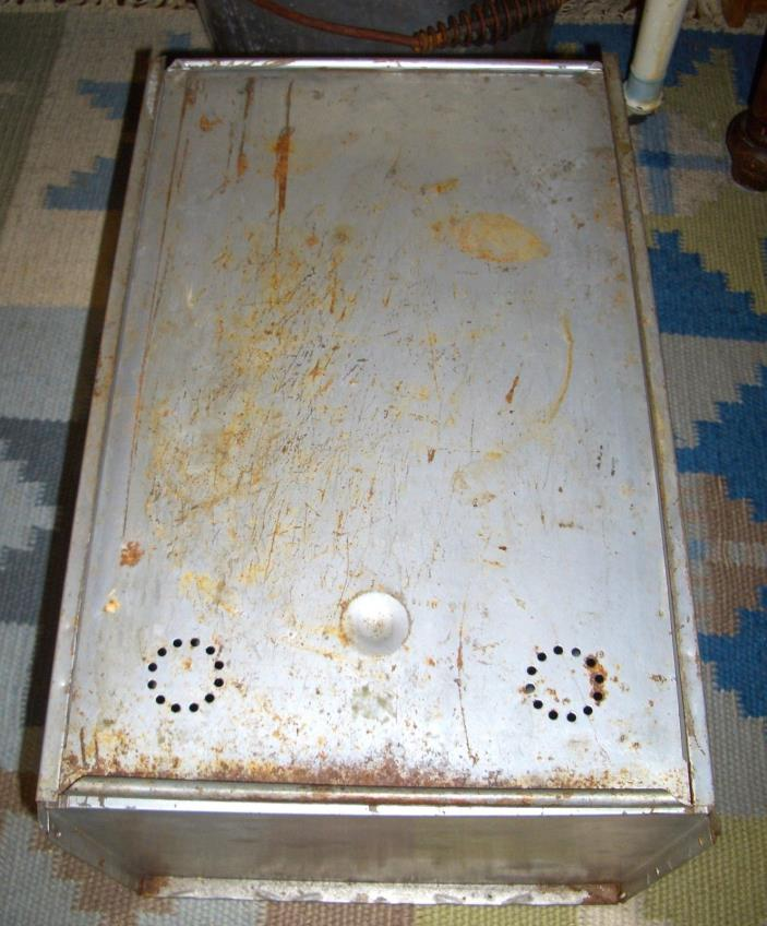 Old Vintage Hoosier Cabinet Tin Metal Bread Box Drawer with sliding lid