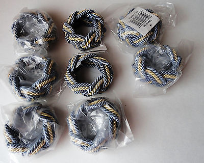 8 braided napkin rings blue  & ecru satin made in India new tags vintage