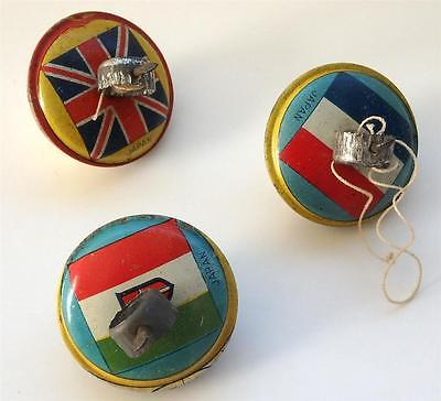 Three Vintage Pre-War Japanese Tin Tops-Flags of Great Britain, France and Italy