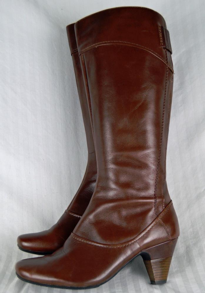 Clarks Brown Tall Boots Stretch Calf 7 Steampunk