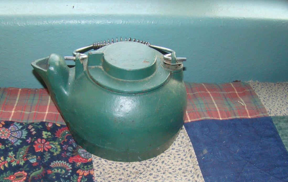 ~Green Cast Iron Kettle Humidifier Vintage Wood Stove Pot Steamer, Used & Heavy~