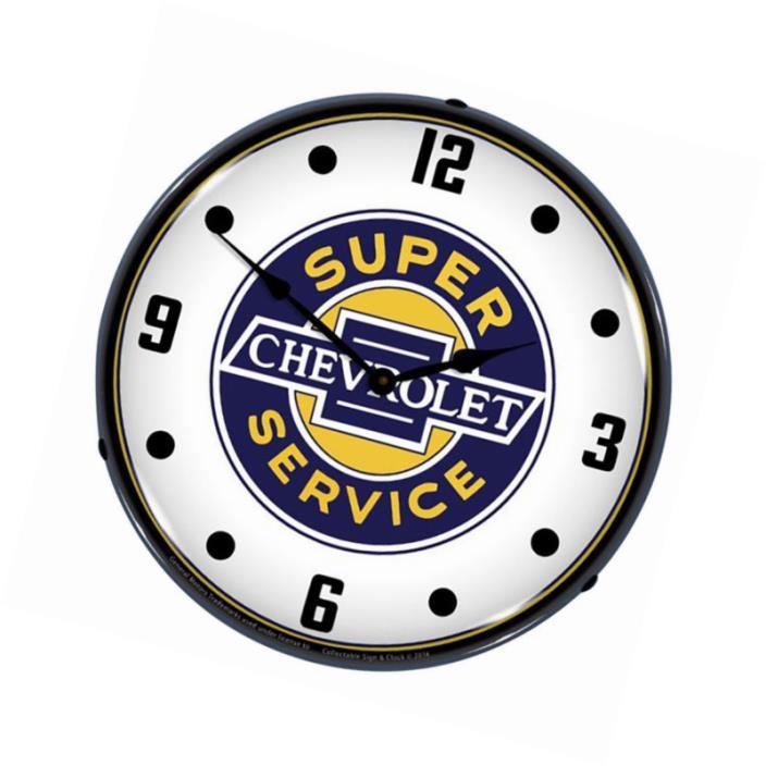 Lighted Chevrolet Super Service Clock