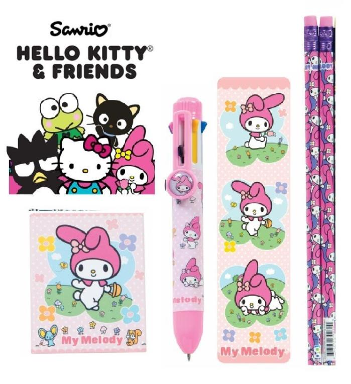 ~ NEW ~ 5pc Sanrio My Melody 8-Color Pen Pencils Bookmark Little Notebook