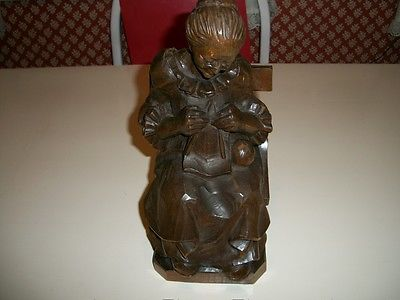 CARVED WOODEN FIGURE  SIGNED 1973