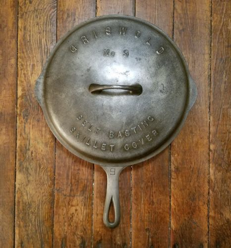 Vintage Griswold #9 LBL SB cast iron skillet w/ matching raised letter cover