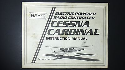 Vintage Cessna Cardinal Electric Powered Radio Control Plane Instruction Manual