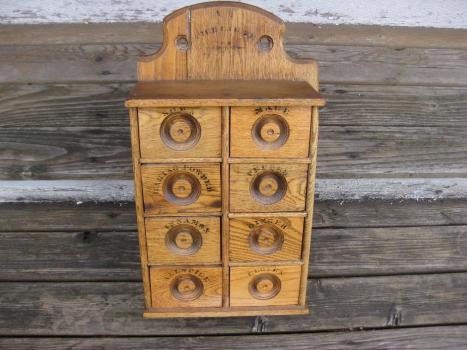 Antique Wood Spice Cabinet Holder Drawers Wall Mounted Vintage Kitchen