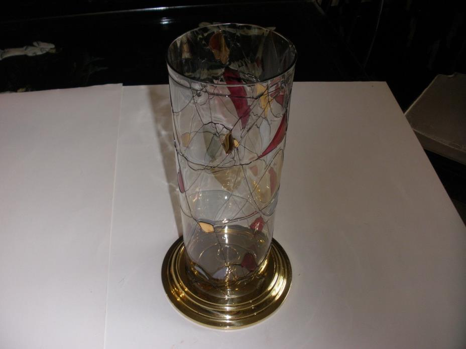 Partylite Mosaic Globe Stained Glass Lamp  Shade with Hurricane Holder