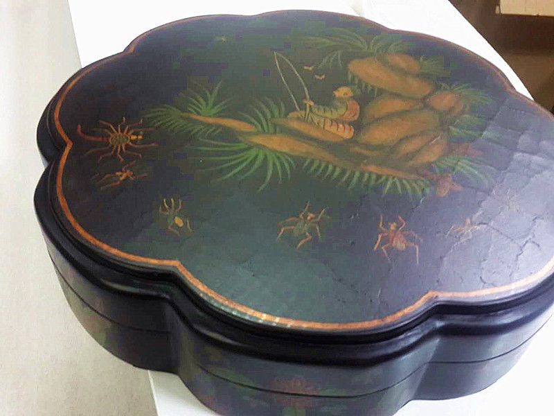 Antique looke black chinese hand painted alcove wooden lacquer box new