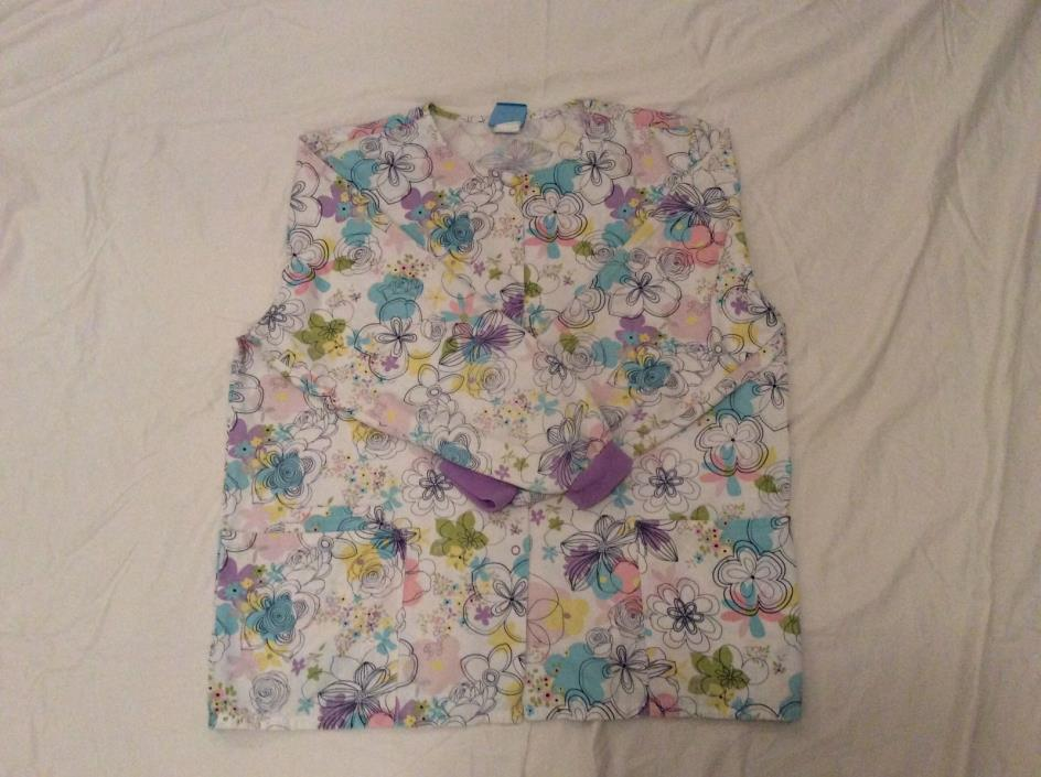 Womens Spring Flowers Scrubs Size Large Top