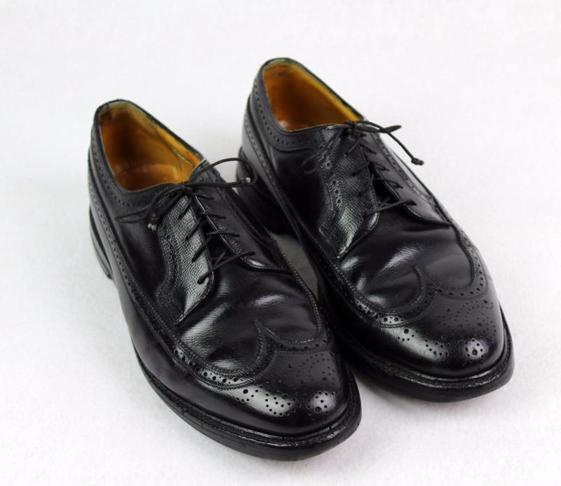 Vintage Florsheim Imperial 5 Nail V Cleat Black Leather Wingtip Dress Shoe 10 3E