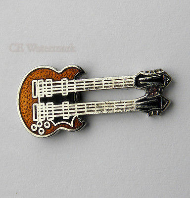 DOUBLE NECK GIBSON SG MUSIC ROCK ELECTRIC GUITAR LAPEL PIN 1 INCH