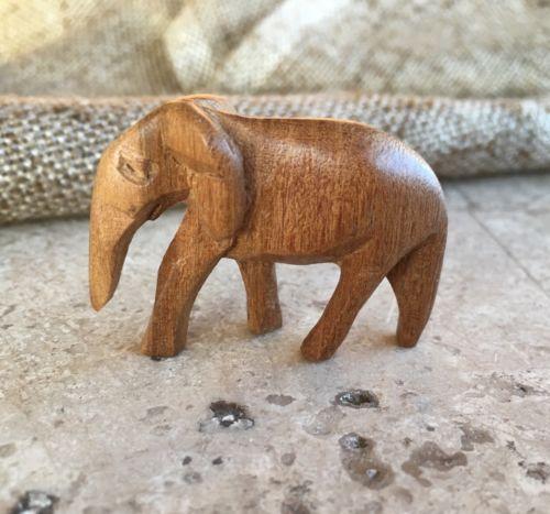 Vintage Folk Art Hand Carved Wood Elephant Trunk Down, Nativity ,Easter Animal