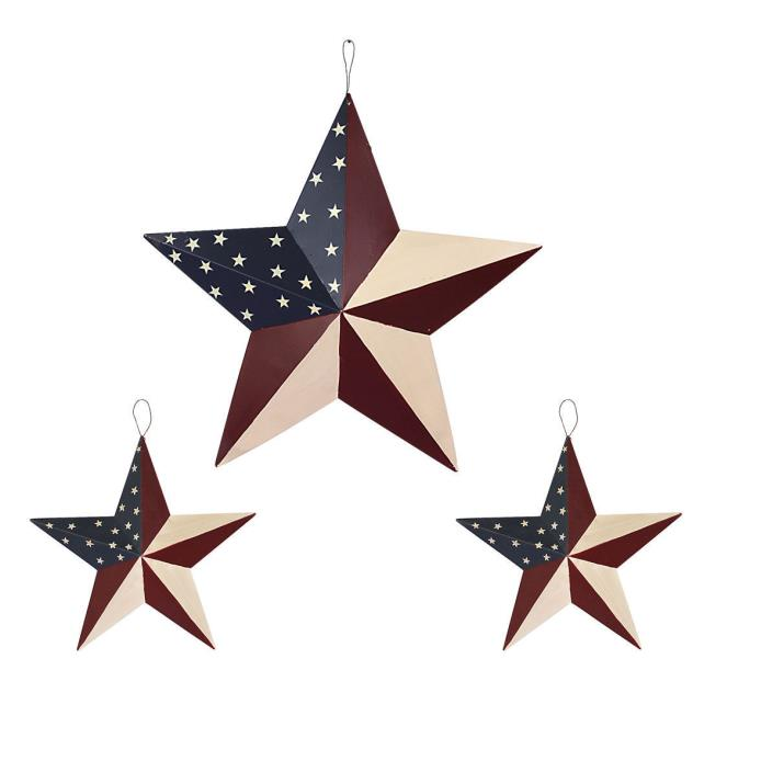 July of 4th Americana Patriotic Wall Decor American Flag Metal 3D Star Set Of 3