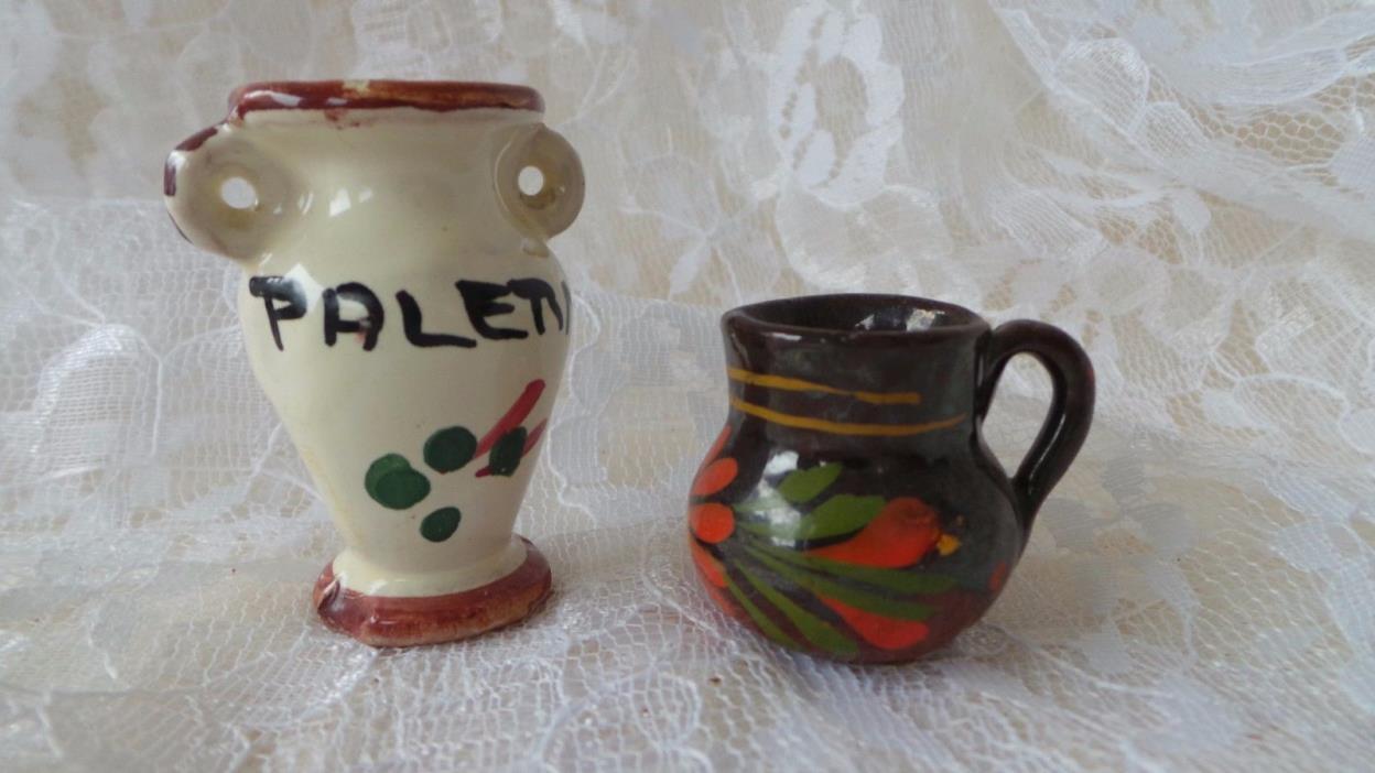 Miniature Clay Italian Vase & Pitcher Miniature Vase Miniature Pitcher Doll Hous