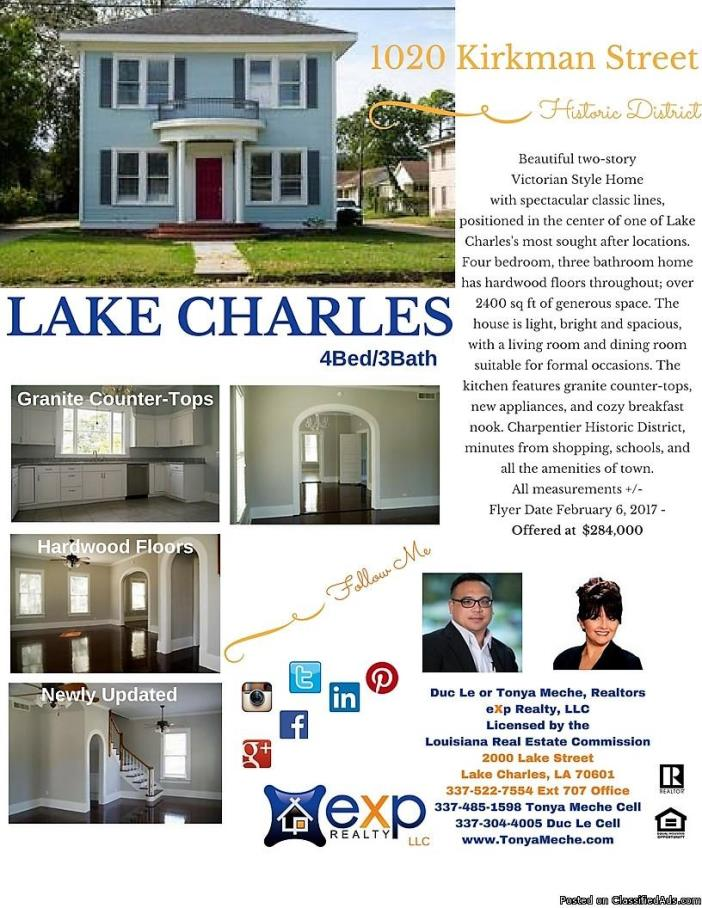 Lake Charles Home for Sale - 4 Bedrooms - 3 Baths