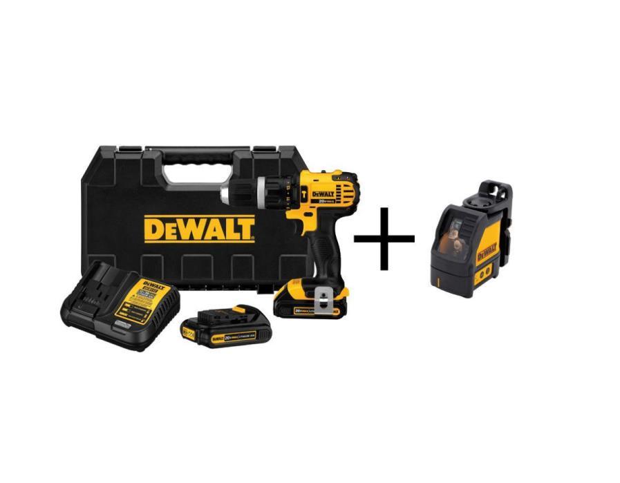 DEWALT 20-Volt Max Lithium Ion Cordless Hammer Drill Kit. Bonus laser Level.