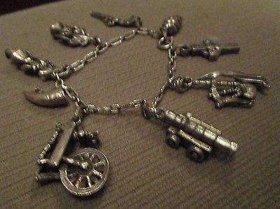 SCOTTISH THEMED MIRACLE PEWTER CHARM BRACELET THISTLE BAGPIPES CELTIC CROSS +++
